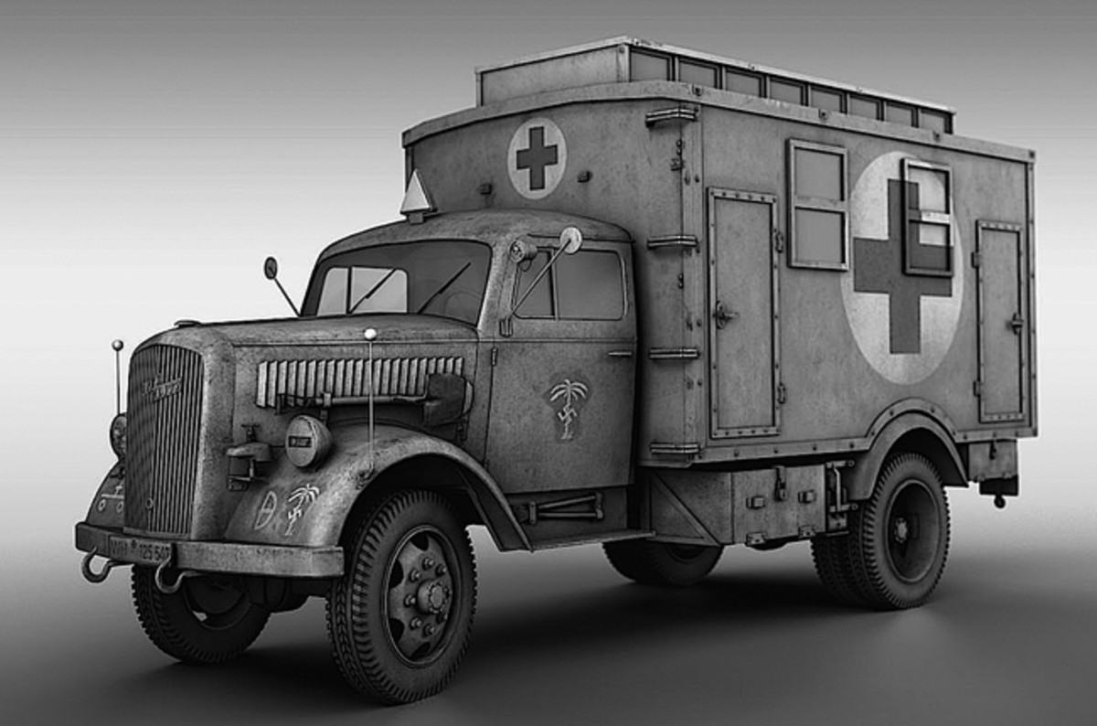 "During the years preceding World War Two, Opel was Germany's largest truck manufacturer. Although many people assume the Blitz name was associated with Hitler's ""Blitzkrieg"" (lightening war), it was actually a model name first given to an Opel truck in 1930. Just as the GMC CCKW was to U.S. and Allied forces, the Opel Blitz was the mainstay of German military transport. There were several dedicated ambulance models, one of which was this van unit."
