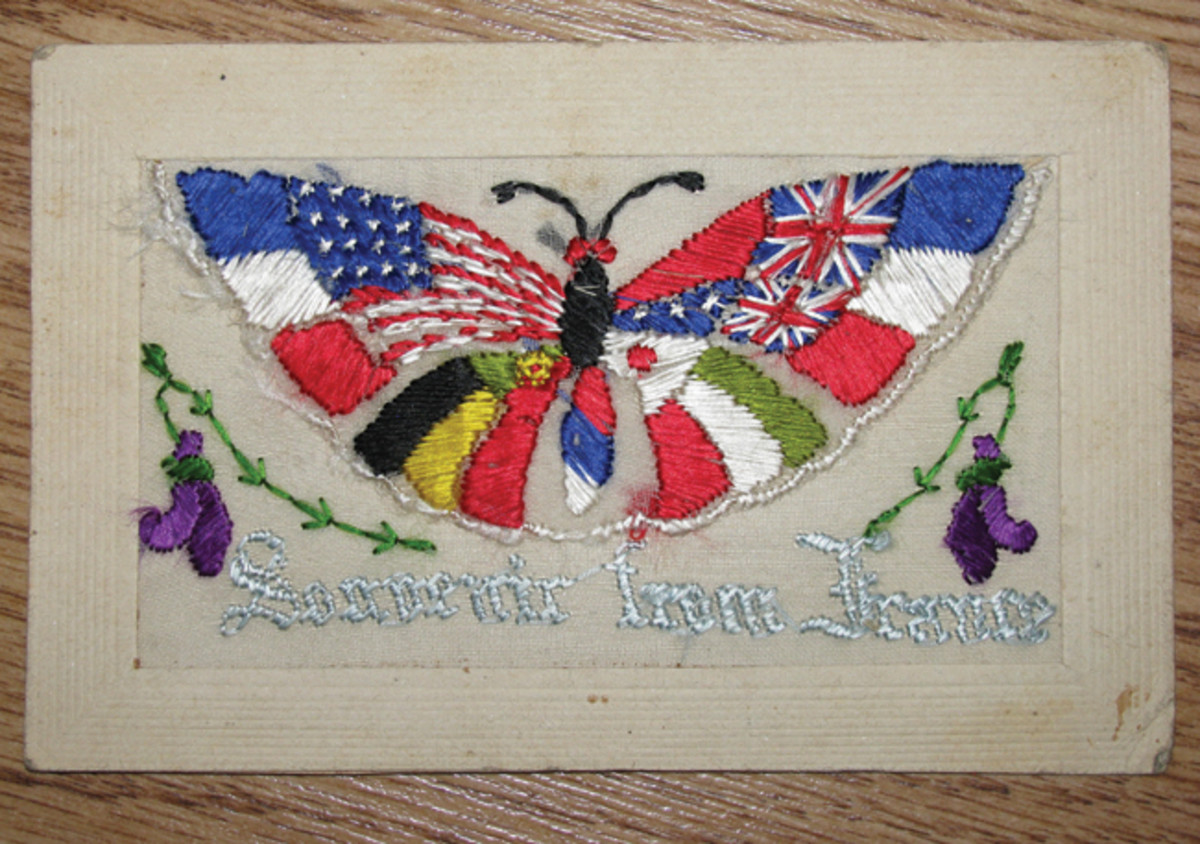 Silk sewn postcards were produced by French and Belgium artists and sold to the Americans.