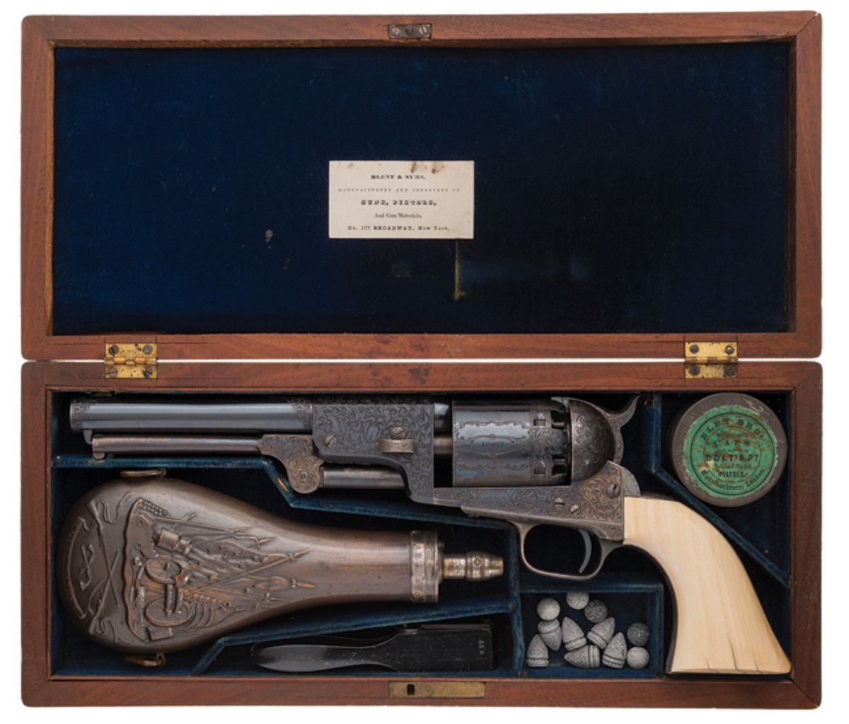 "Rare Collectors Firearms Auctions ""> Well-Documented Iconic Gustave Young Master Engraved Cased Colt Third Model Dragoon Percussion Revolver with Inscribed Grip Strap, Known as ""The Millikin Dragoon"""