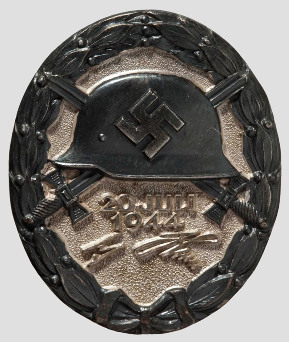 """After an assassination attempt failed in 1944, Hitler ordered the production and issue of a specialized Wound Badge to those who were injured during the attack. The """"20. Juli"""" Wound Badge was issued in all three grades."""