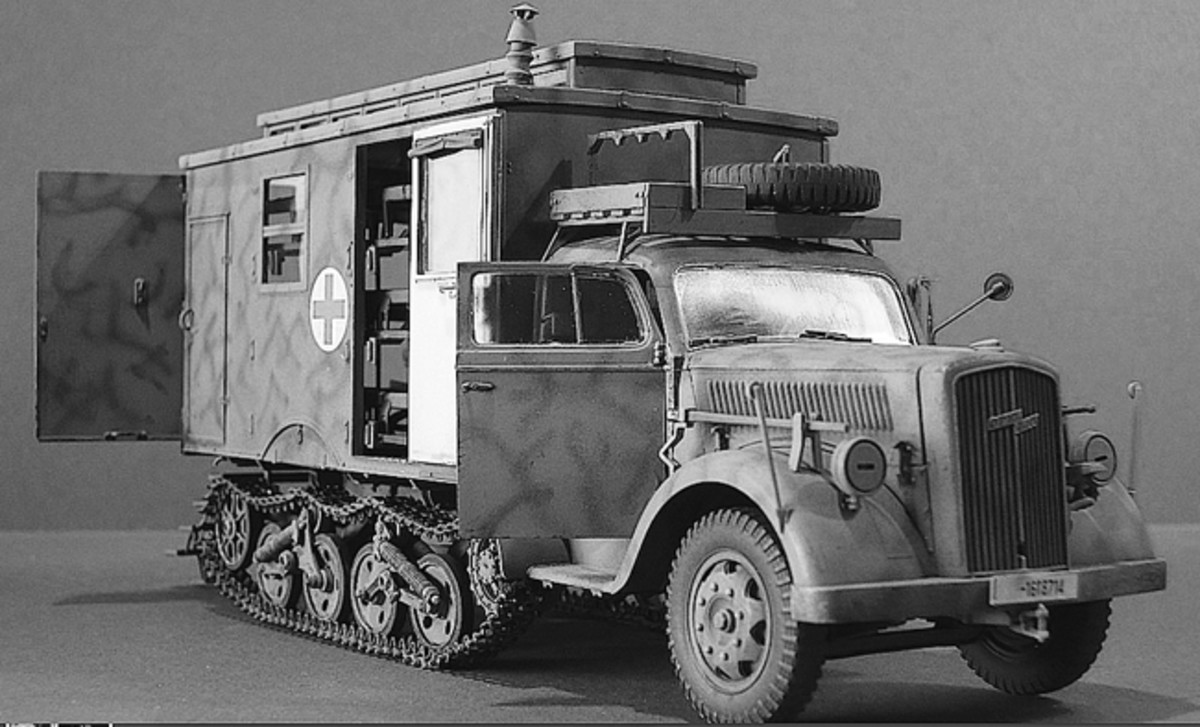 After the invasion of the Soviet Union in June of 1941, the German Army quickly found that Russia's road conditions and terrain were far from favorable to wheeled vehicles, so half-track trucks were developed, such as the Opel Maultier (Mule), including ambulance versions.