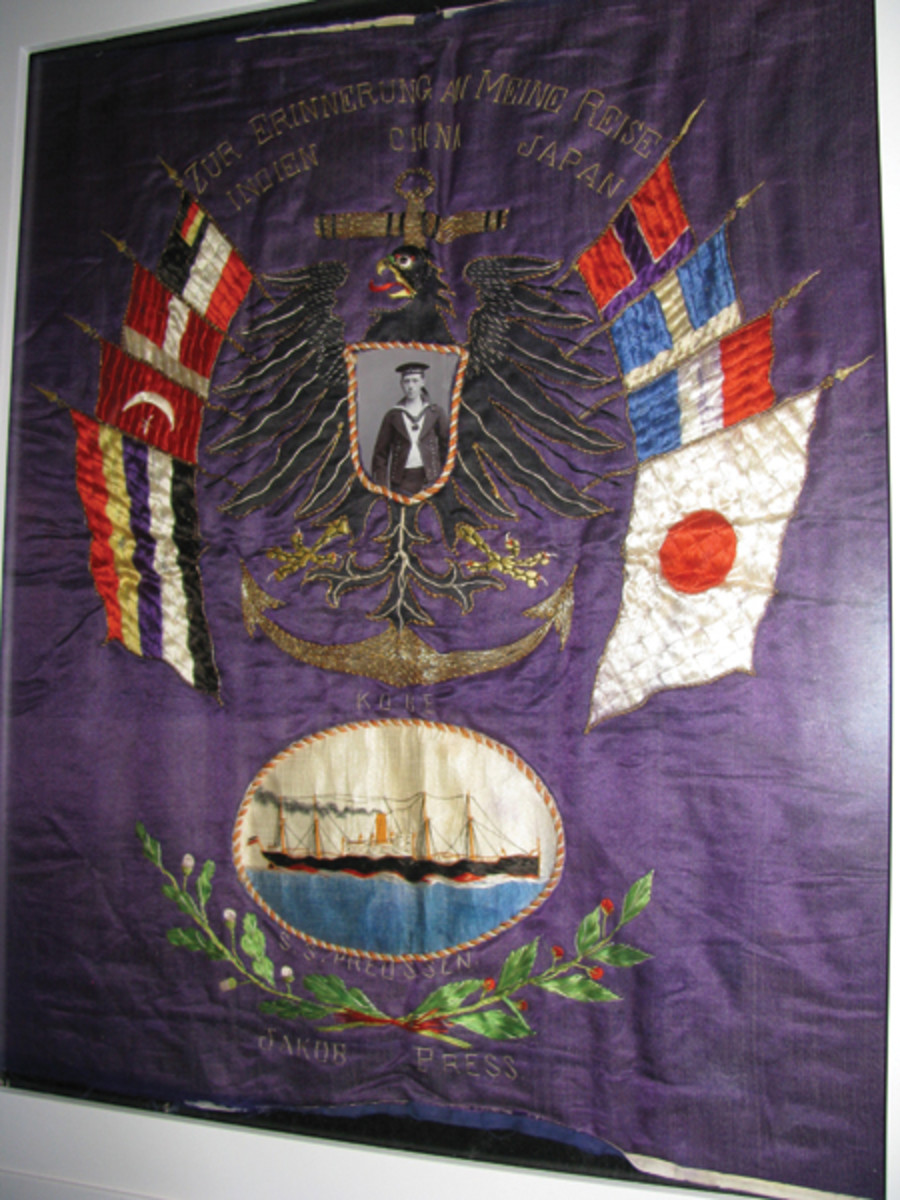 Americans weren't the only ones with silk souvenirs: German sailor Jakob Press, aboard the SS Preussen had this silk photo frame made on his pre-WWI trip to the Orient.