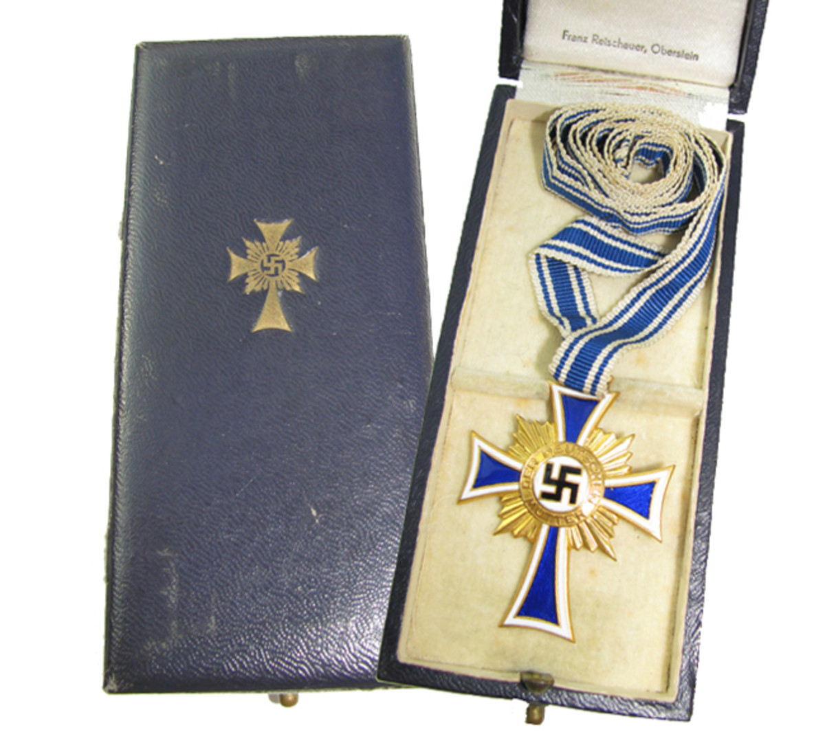 1st Class gold awards such as this Cross manufactured by Franz Reischhauer of Oberstein were presented in leatherette cases