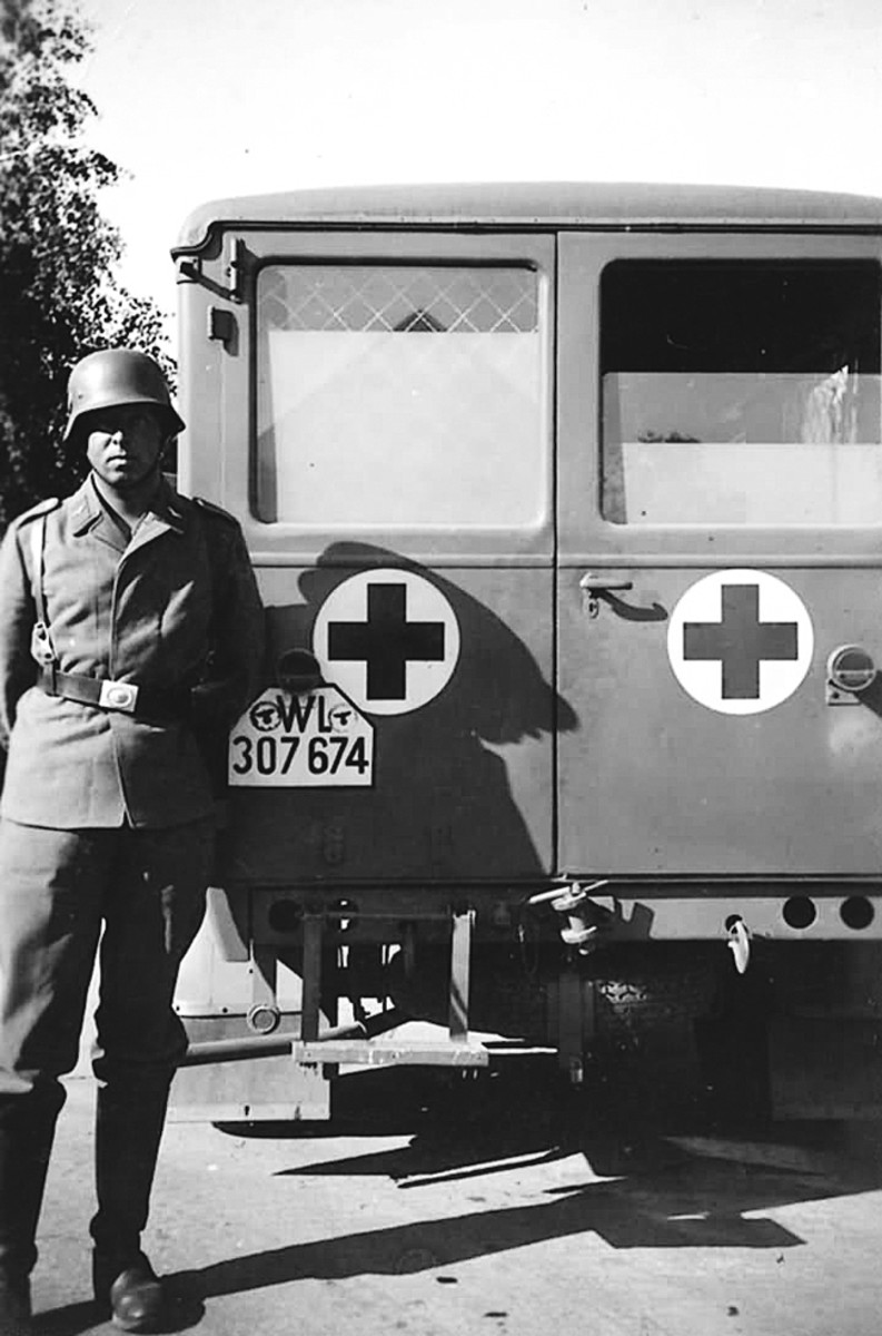 Rear view of an Opel Ambulance.
