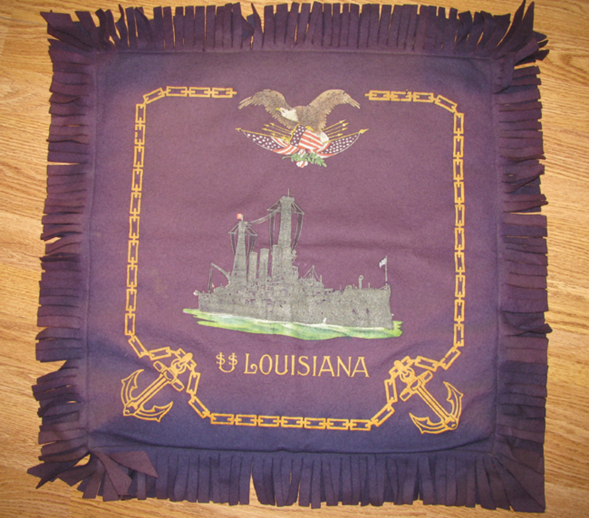 A favorite souvenir among US Navy personnel during WWI was a silk pillow case imprinted with a sailor's particular ship, in this example, the USS Louisiana.