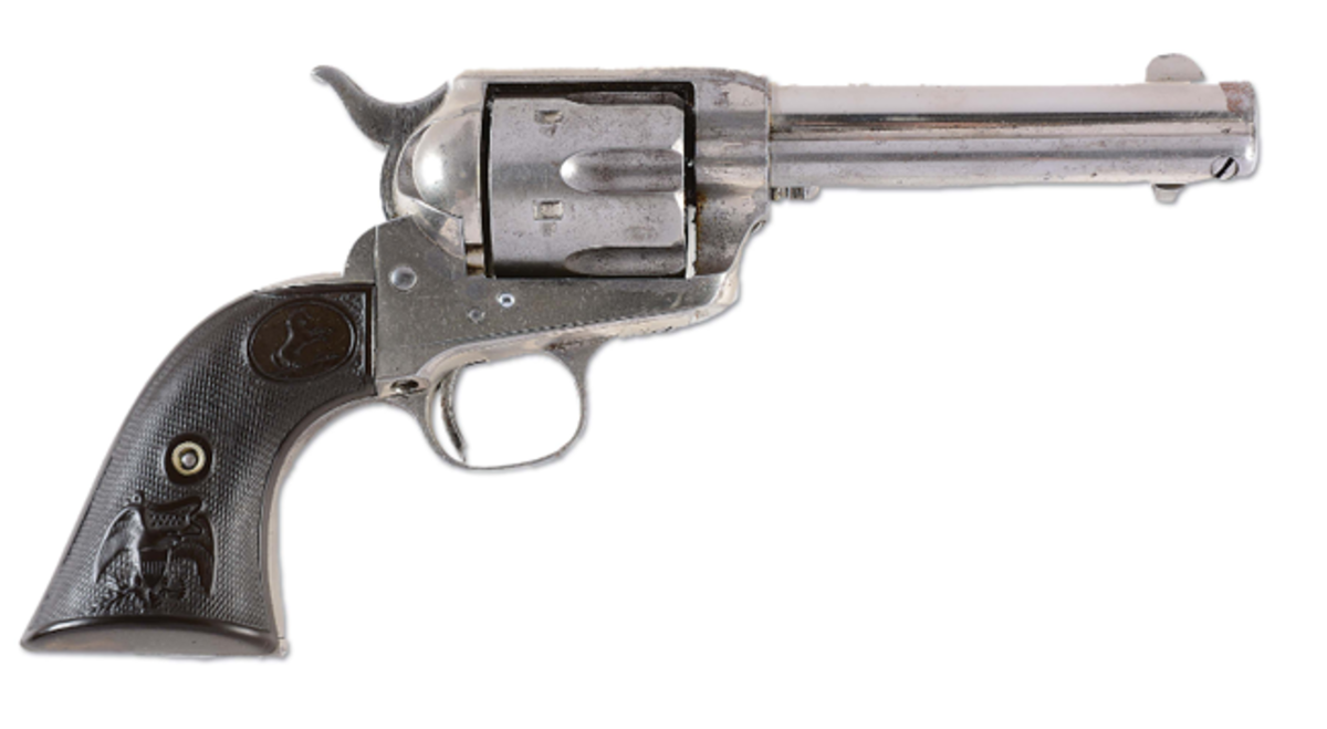 Colt single-action Army revolver that belonged to legendary sheriff Wyatt Earp in the 1890s, extensive Earp family lineage and documentation. Est. $75,000-$100,000