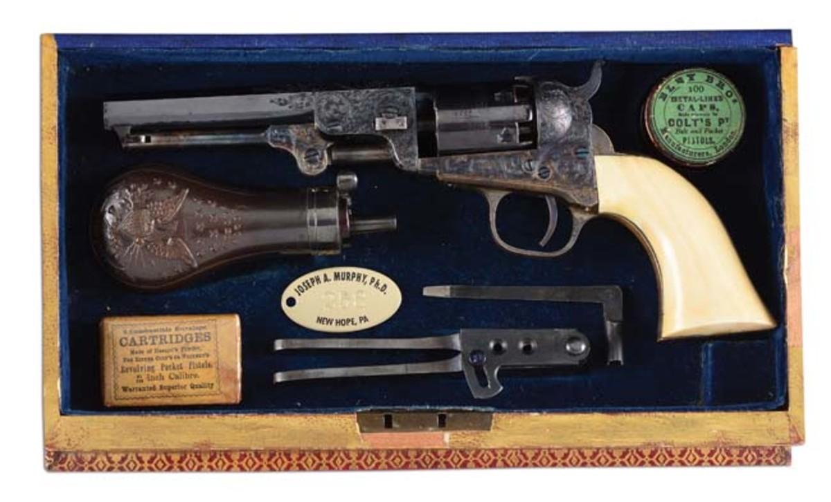 Colt 1849 pocket revolver book, one of the rarest of all Samuel Colt personal presentations. Provenance: Jason Roselius collection. Est. $100,000-$150,000