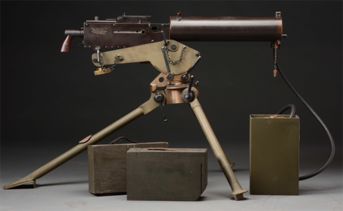 Rare and historic Colt Model 1924 automatic machine gun, tripod and accessories. Formerly utilized by prison guards at Sing Sing prison. Est. $30,000-$50,000