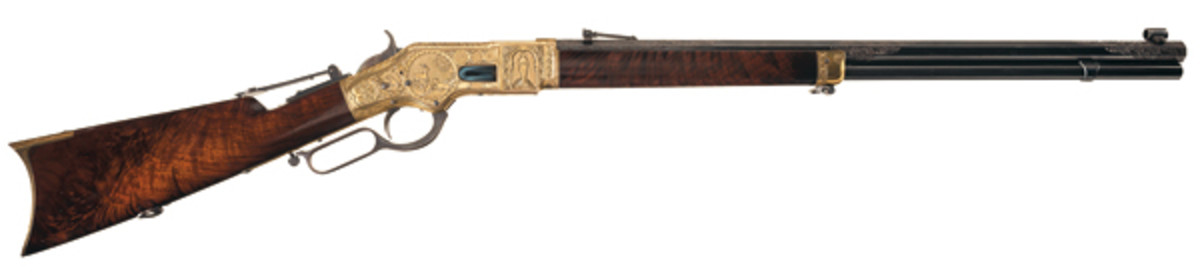 Magnificent Documented Conrad Ulrich Masterpiece Gold Plated Factory Exhibition Quality Relief Engraved and Signed Winchester Model 1866 Lever Action Rifle.