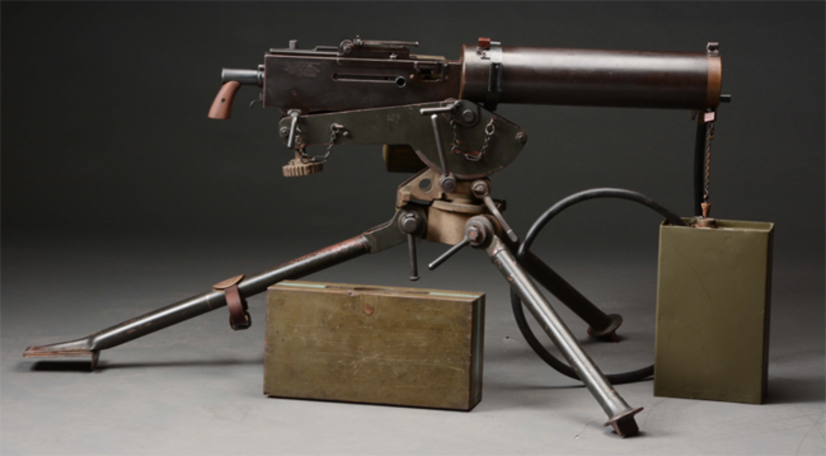 Rare Colt Model of 1919 water-cooled machine gun, accompanied by correct Colt commercial tripod, accessories. Est. $30,000-$50,000