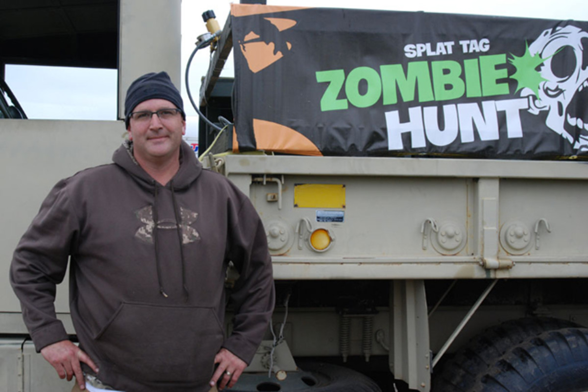 """Rick Michel of CC Military Surplus in Maplewood, Minnesota, teamed up with Splat Tag owner, Darrin Johnson to create a 10-night """"Zombie Hunt"""" experience that combines the sport of paintball with his love of trucks and the current public passion for """"all things Zombie"""""""