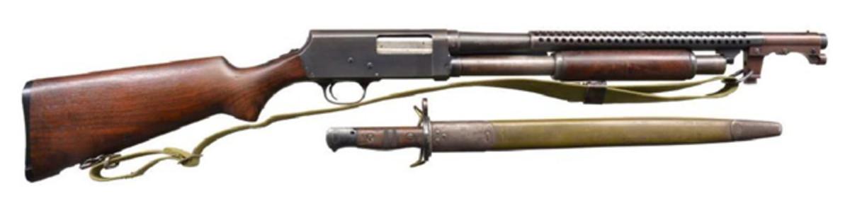 STEVENS MODEL 520-30 TRENCH PUMP ACTION SHOTGUN.Sold for $2,300