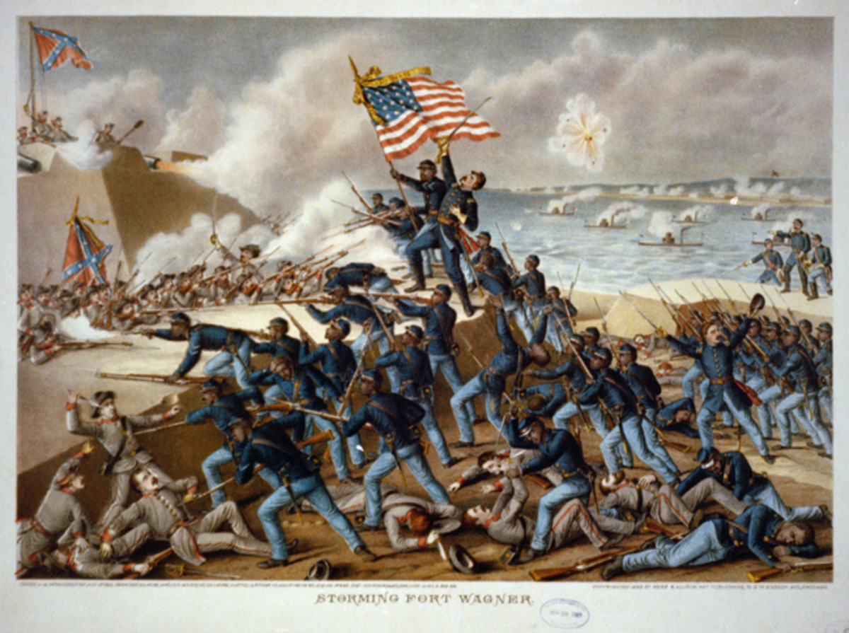 At the Second Battle of Fort Wagner, a beachhead near Charleston, South Carolina, Shaw was killed while leading his men to the parapet of the enemy fort in 1863.