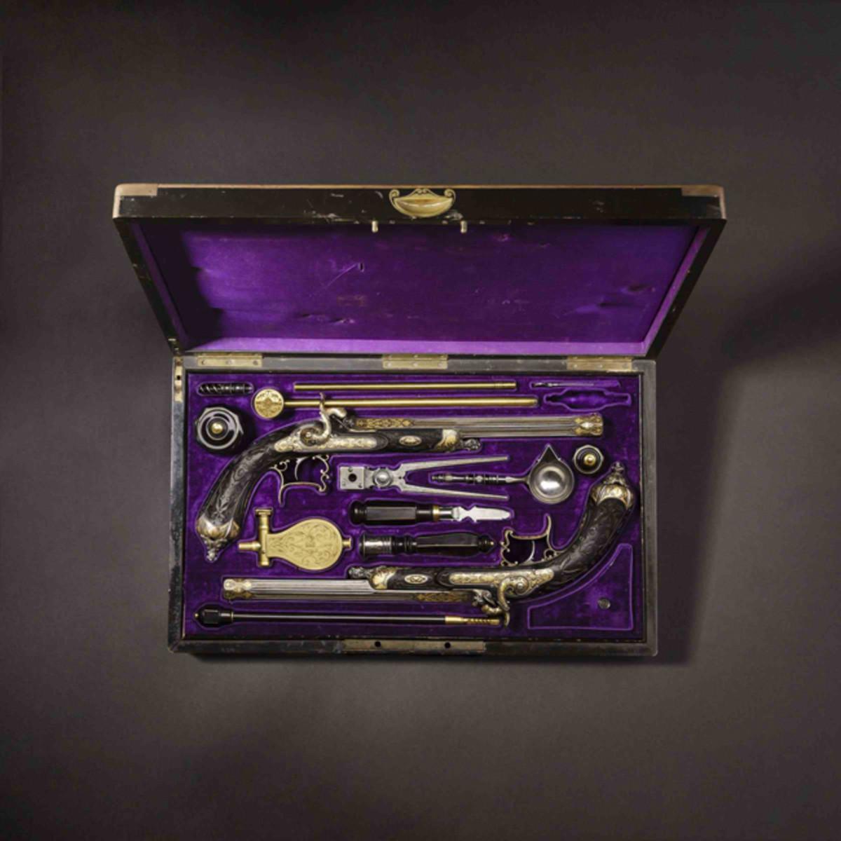 Paar goldtauschierte Luxus-Perkussionspistolen, A. De Lezaack, Lüttich um 1860.