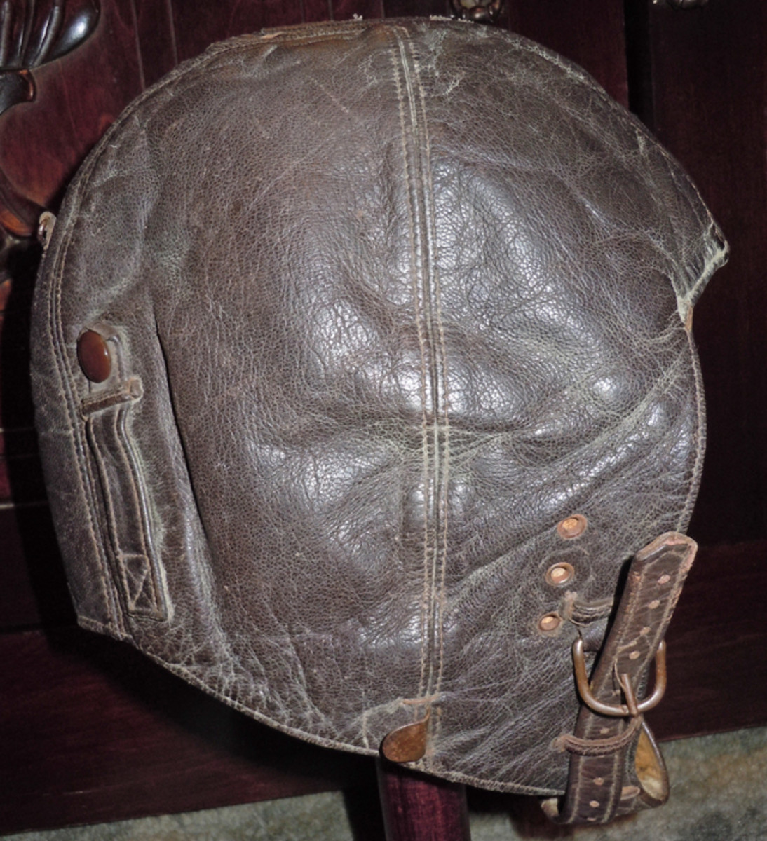 The Luftwaffe leather winter pilot helmet, Model K/33 that came with the group manufactured without installed headphone speakers.