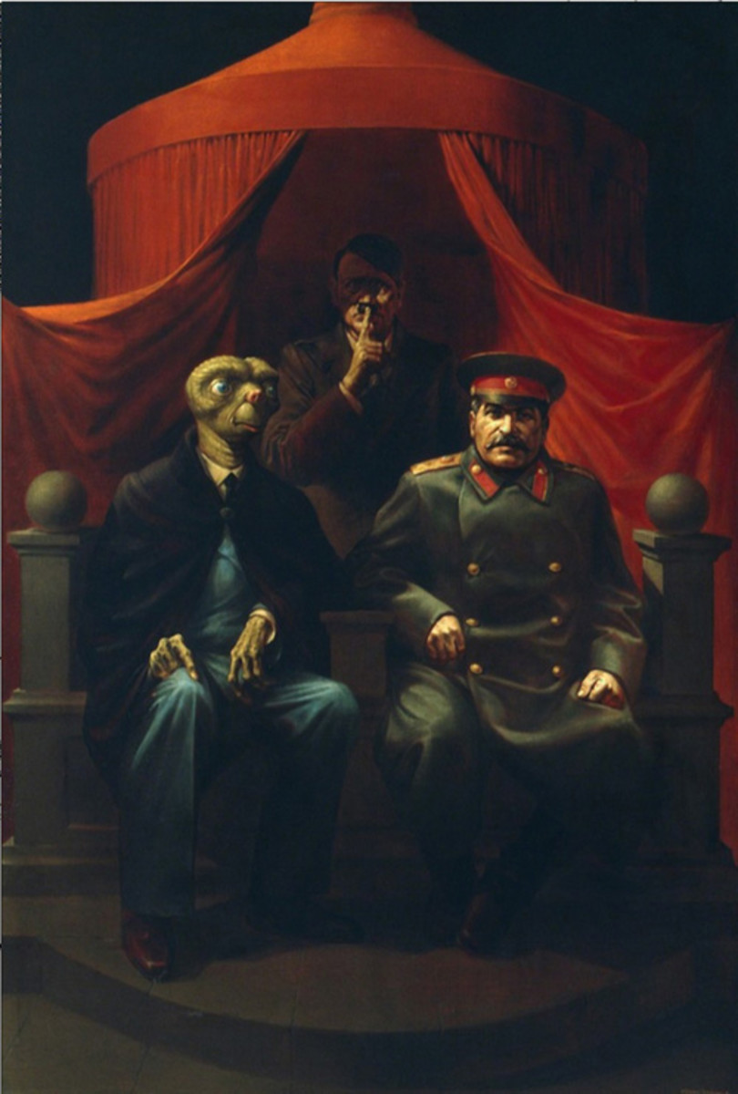 painting-1982 Komar and Melamid (Russian/American, b. 1943 and 1945, respectively), The Yalta Conference, 1982, oil-on-canvas, 72 x 50in.