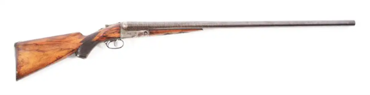 Colossal and extremely rare Parker N Grade 8-bore shotgun built on a No. 6 frame, 1906. Image - Morphy Auctions