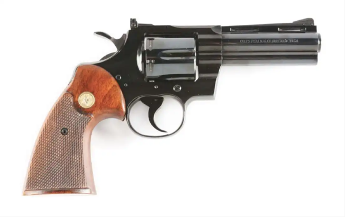Boxed pre-letter-series Colt Python double-action revolver with original box, 1969. Image - Morphy Auctions