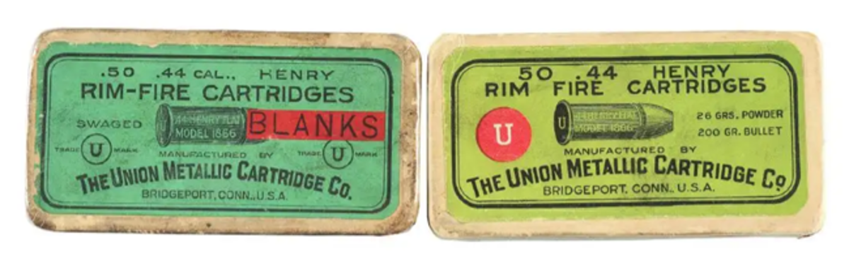 Two UMC ammunition boxes with .44 Henry Rim Fire Cartridges; one box factory sealed, the other opened but with full contents. Image - Morphy Auctions