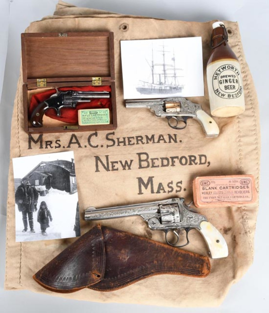 https://www.liveauctioneers.com/item/58862507_whaling-captain-s-smith-and-wesson-pistol-groupingImportant collection of 19th-century Smith & Wesson revolvers and other items belonging to whaling ship captain Albert Sherman (1849-1914) of New Bedford, Mass., family provenance.
