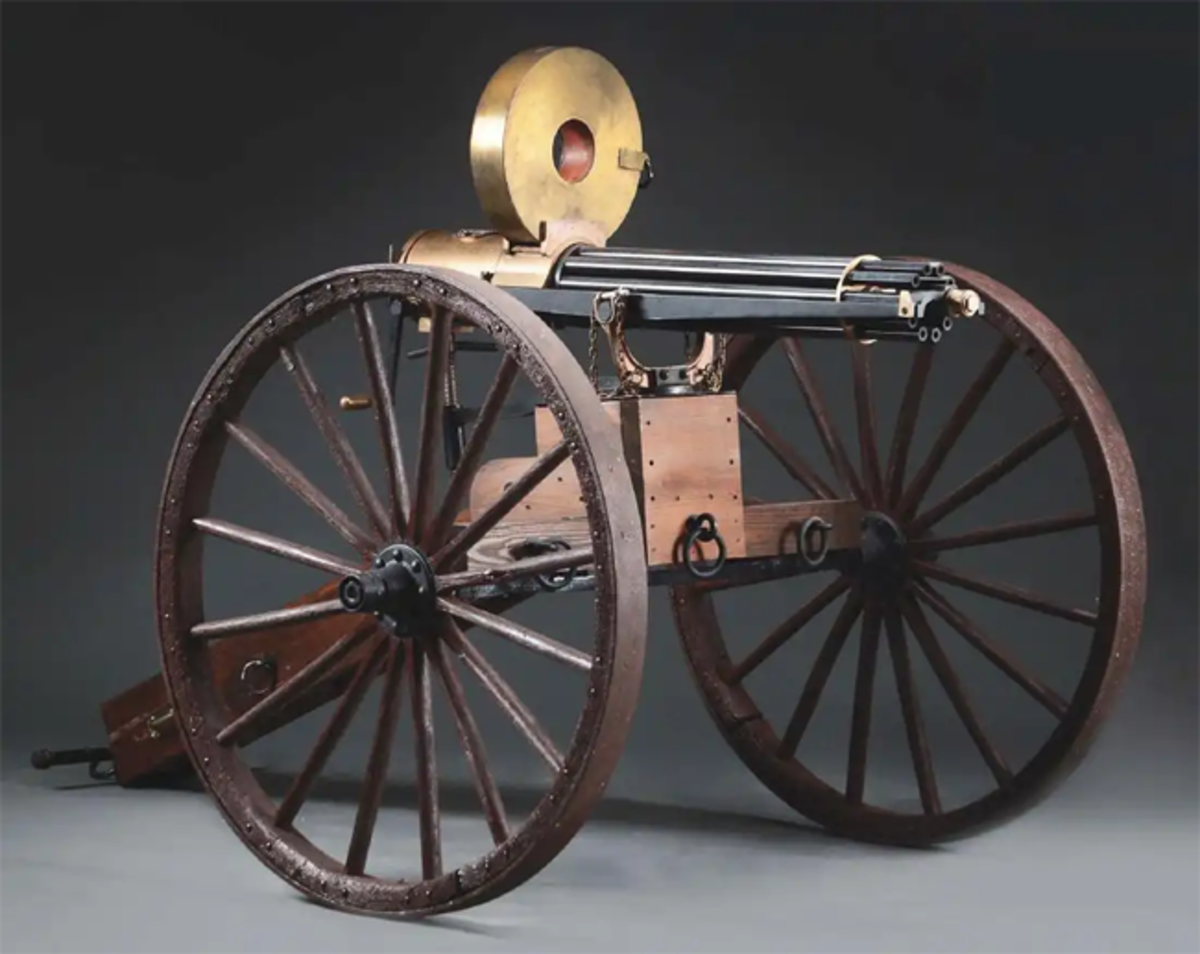Fine reproduction Colt 1874 Gatling battery gun, functional and suitable for re-enactments or firing. Image - Morphy Auctions