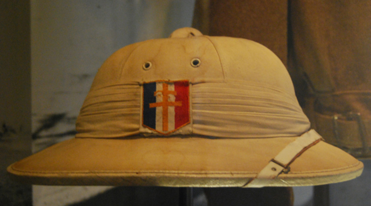 A French Model 1931 helmet in the collection of the Museed'Armee in Paris featuring the Cross of Lorraine. This style helmet was used in the latter part of the North African campaign by Free French forces.