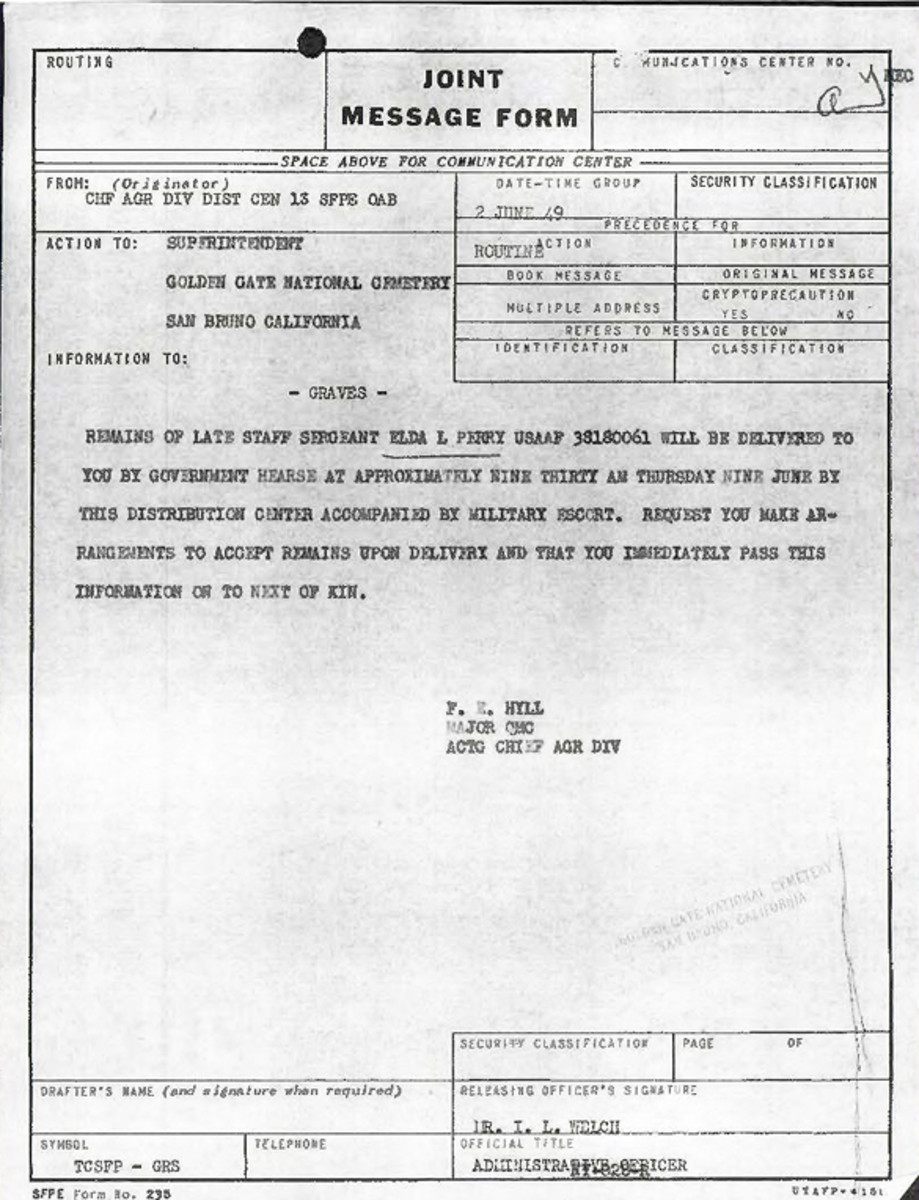 Extract from Individual Deceased Personnel File (IDPF) for Staff Sergeant Elda L Perry of the 392nd Bomb Group researched by historian Bill Beigel. The file contains copies of primary documents that discuss the return of personal effects, circumstances and causes of death, and memorialisation of the fallen airman.