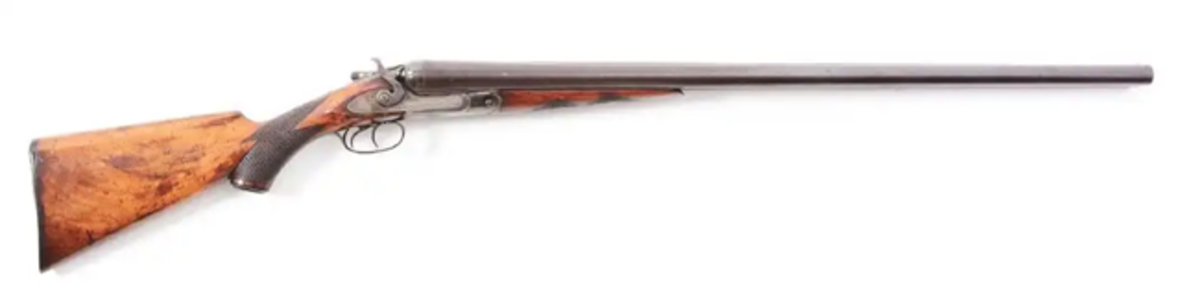 Massive and extremely rare No. 7 frame Parker Brothers P Grade 8-bore hammer shotgun on a No. 6 frame, 1910. Image Morphy Auctions