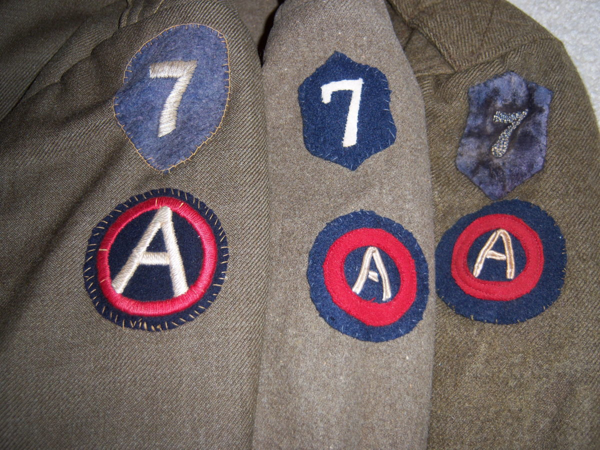 Not be outdone by the other units in Third Army, many of the separate field artillery regiments assigned to VII Corps dual-patched their uniforms to show their Corps and Army affiliations.