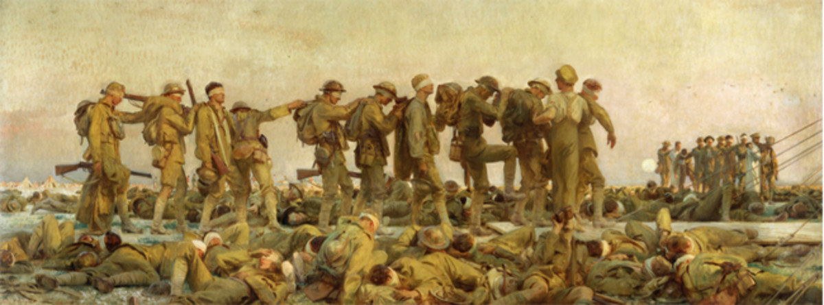 John Singer Sargent (1856–1925). Gassed, 1919. Oil on canvas, 90 1/2 x 240 in. Imperial War Museums, London, England. Photo © IWM Imperial War Museums, Art.IWM ART 1460