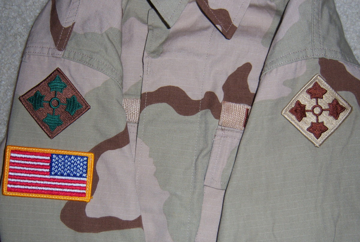 A modern day dual-patched Desert Combat Uniform (DCU) from the 4th Infantry Division highlighting the variation in 4th ID patches during Operation Iraqi Freedom.