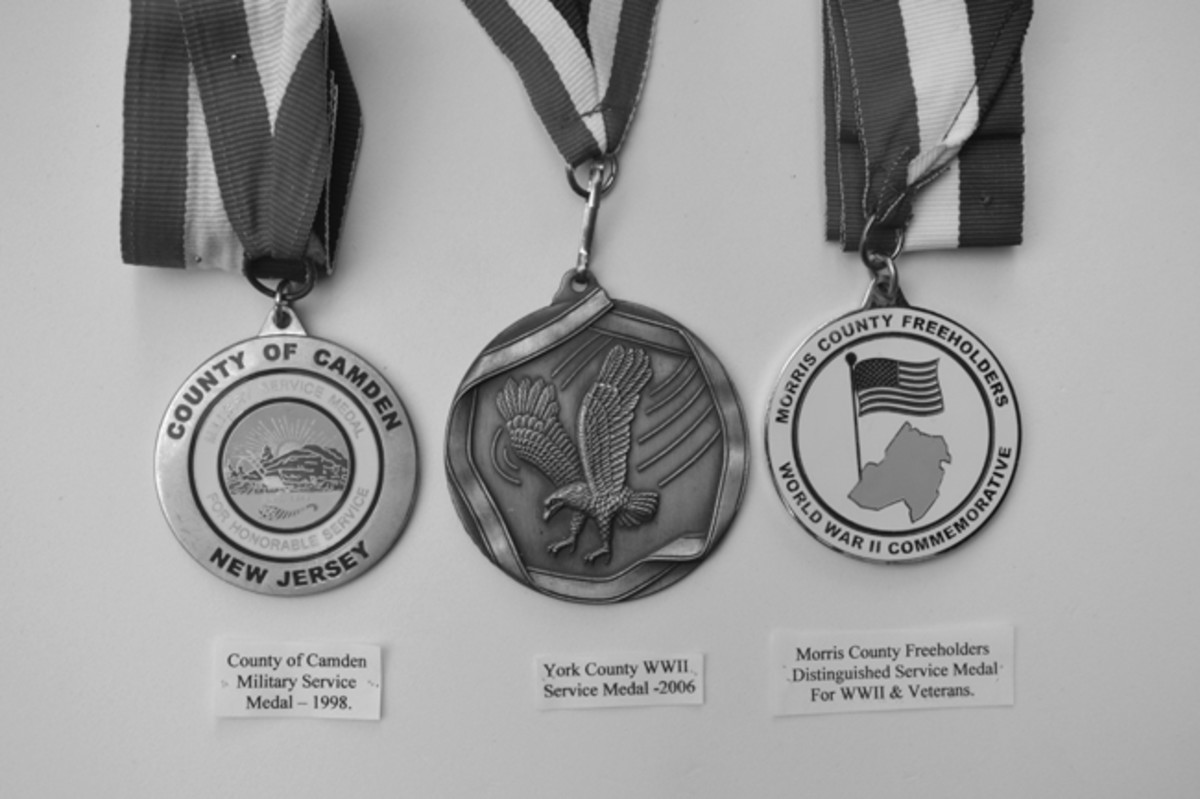 Three of the more recent medals awarded to WWII Veterans including Camden County, New Jersey, York County, Pennsylvania, and Morris County, New Jersey.