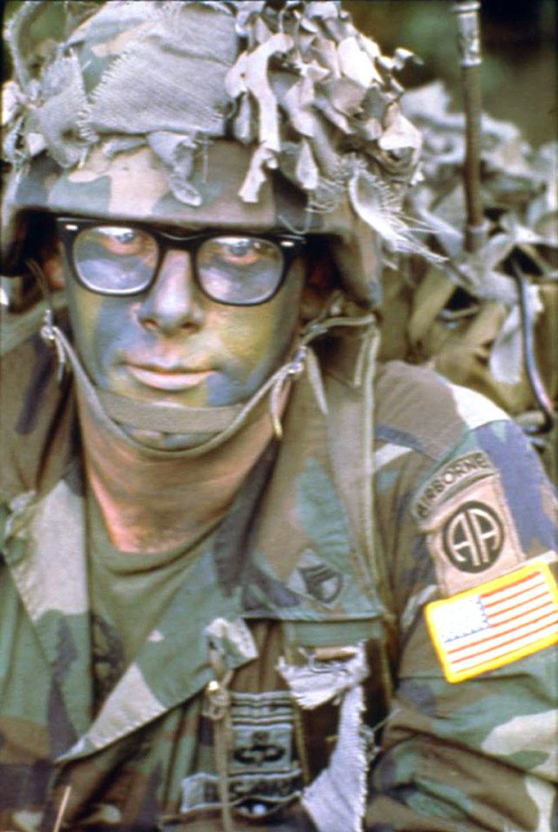 An All American Division paratrooper in Panama during Operation Just Cause wearing the Battle Dress Uniform (BDU) with woodland subdued insignia. After it was introduced in the early 1980s, the BDU was worn by the division for nearly 25 years.