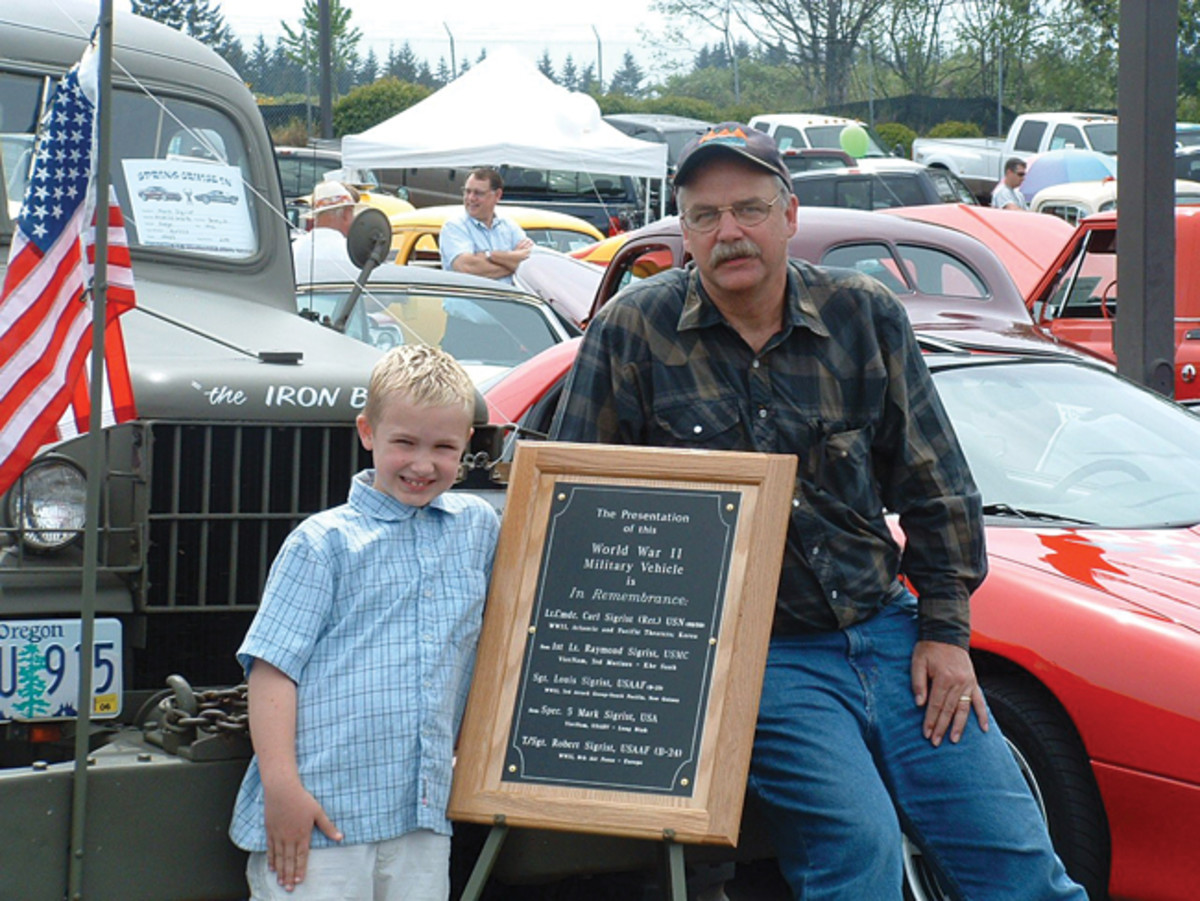 Local car shows/cruise-ins are great places to showcase our historic military vehicles...and to take our young vehicle enthusiasts. A display plaque will celebrate family veterans. This photo shows son-and-father team, Gunnar and Mark Sigrist.