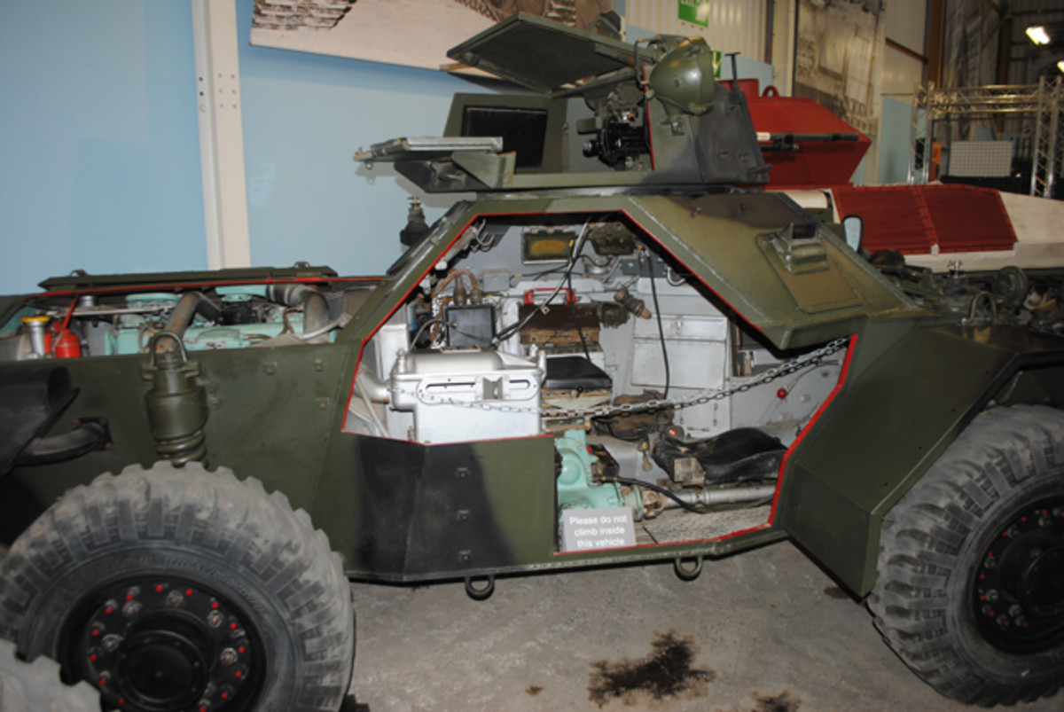A dissected Ferret scout car reveals the internal components of the small, British vehicle.