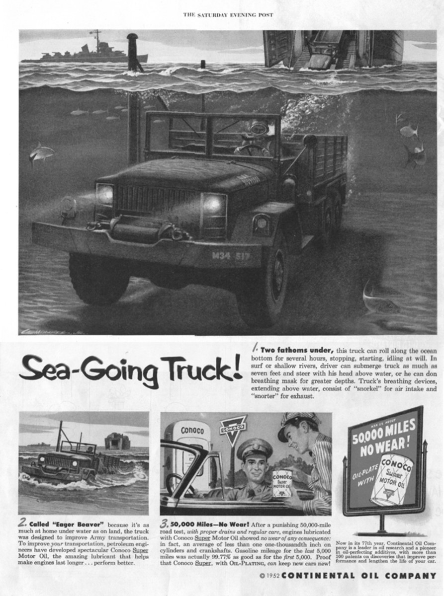 The illustration in this ad may have been a bit over-the-top. The M35 was capable of deep water fording to a practical depth of about seven feet when fitted with its deep-water fording kit.