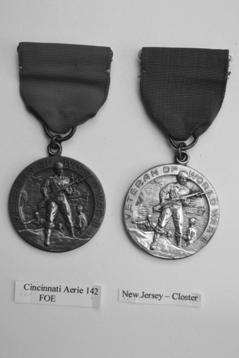 Cincinnati Aerie 142 F.O.E. & Closter, New Jersey, in bronze and silver versions.