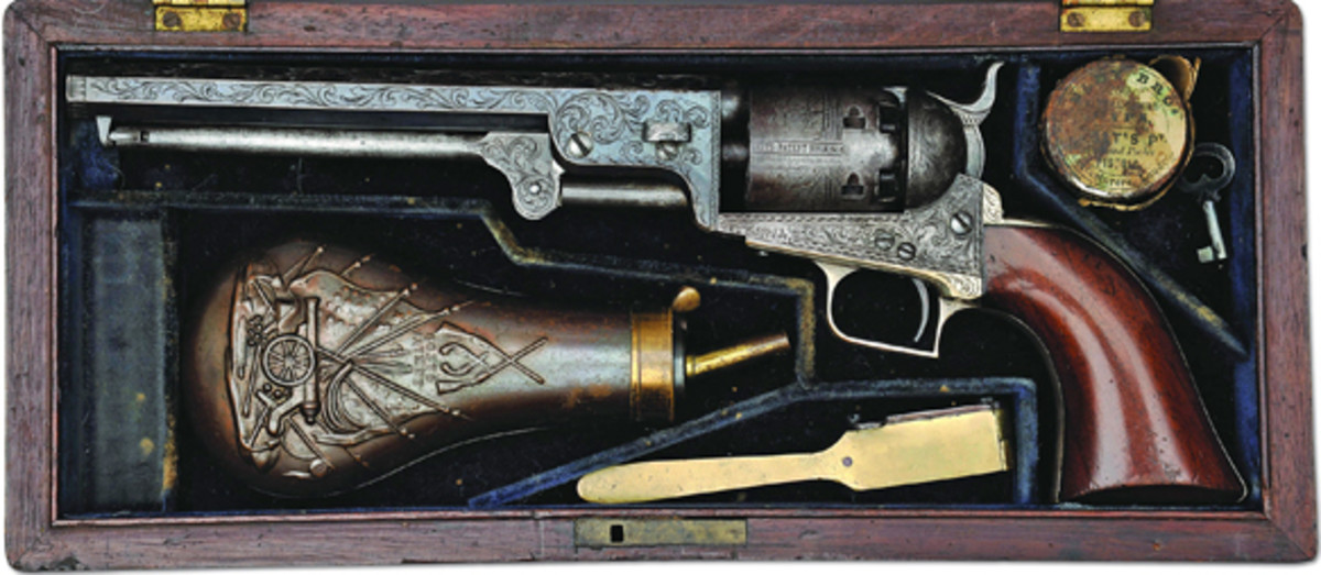 An extraordinary rare cased engraved Colt 1st Model square back 1851 Navy from the outstanding Michael Leff Collection of rare Colts. This gun formerly in the Dr. Robert Nelson Collection and later in the distinguished Johnny Basset Collection, thereafter in the George Allen Collection, is in very fine condition and comes with an estimate of $80-100,000.