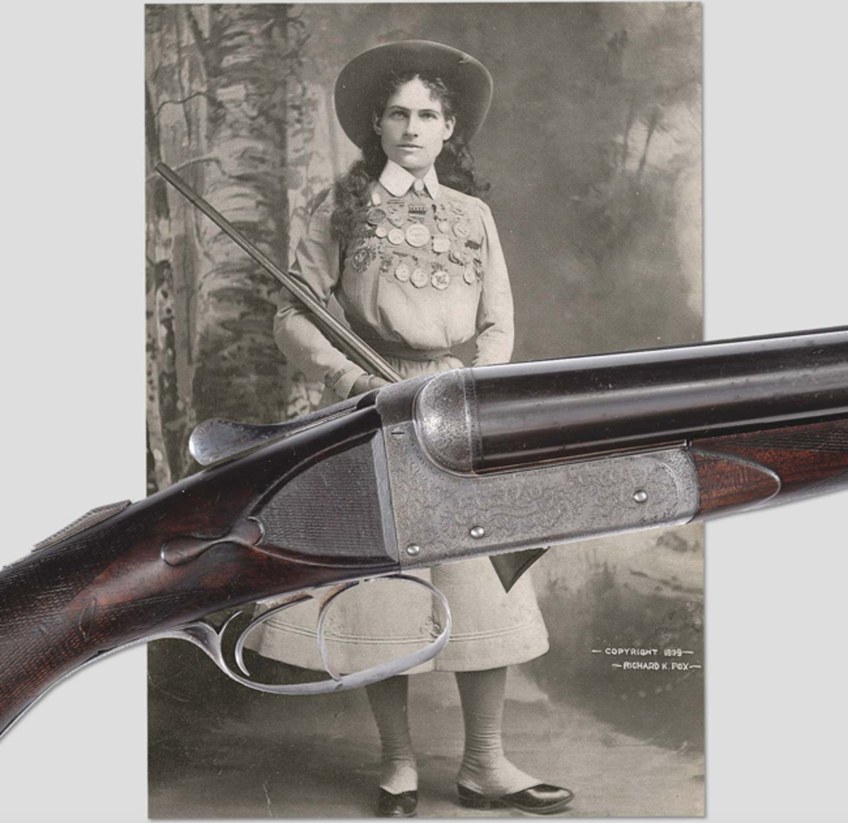 Annie Oakley's personal 12 ga. William Cashmore shotgun. This is the very gun that is show in a number of photographs of Annie.