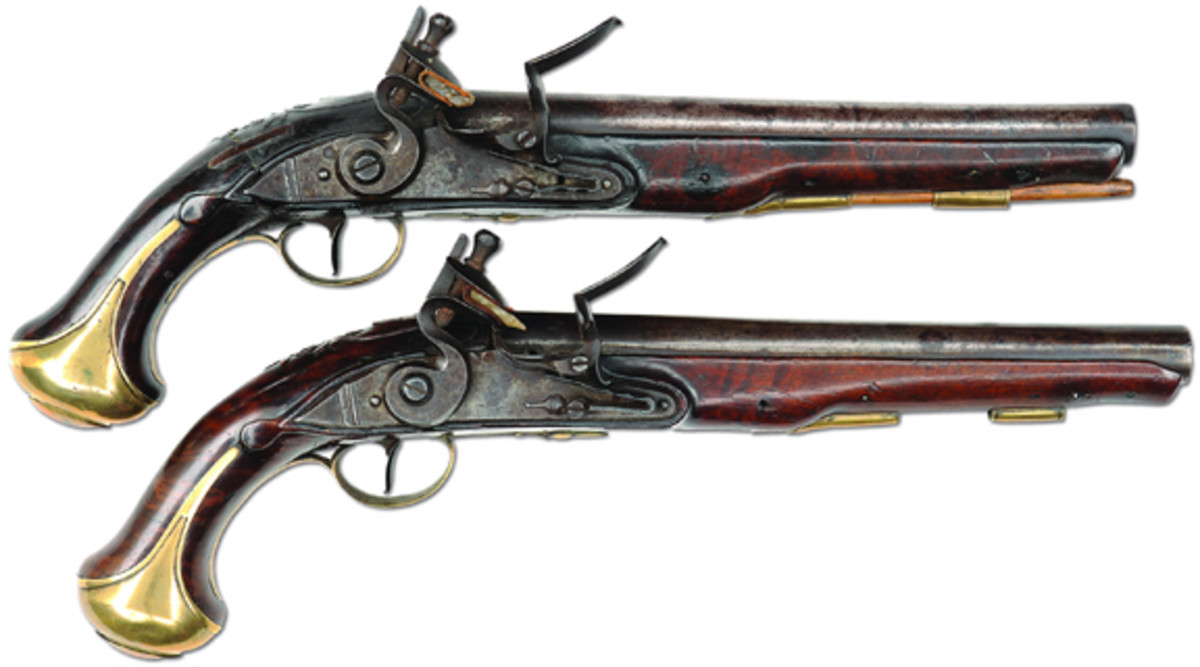 From the renowned Frank Sujansky Collection will be offered this extremely rare valuable pair of American walnut stock Revolutionary War relief carved Kentucky pistols attributed to Peter Barry. These pistols are in wonderful condition and carry a presale estimate of $35-65,000.