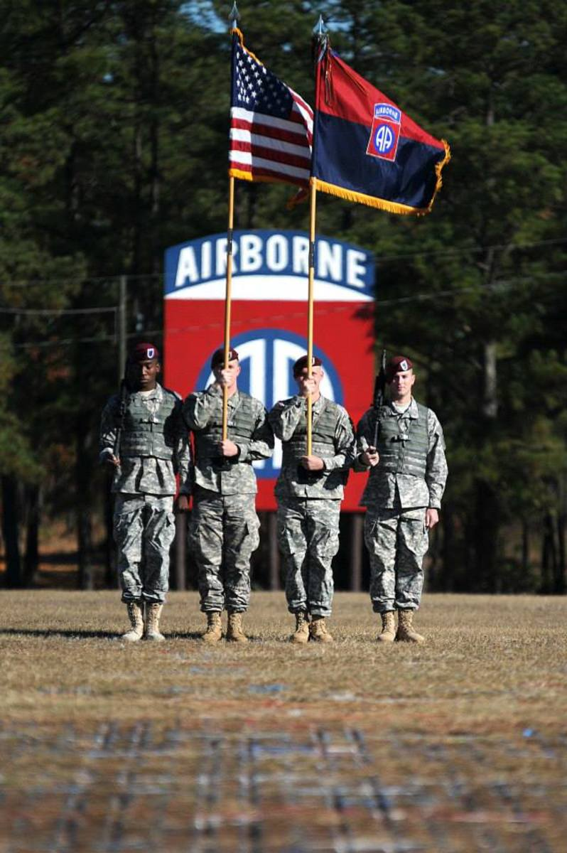 The 82nd Airborne Division color guard stands tall during a ceremony at Fort Bragg in 2013. U.S. Army.