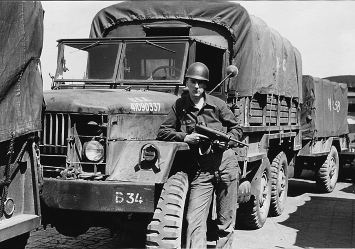 During the post-WWII years, Reo entered into a competition between Reo, Studebaker, and General Motors to design a new 2-1/2 ton tactical truck to replace the U.S. military's fleet of GMC CCKWs, I.H.C. M-5-6s, and Studebaker US6s. General Motors wanted to hang on to the deuce-and-a-half market, and even though the military seemed to favor Reo's design—first called the M34 (shown here), then the M44 Series. While both the Reo and G.M. trucks were accepted for production, the Reo M35 and its six-wheeled variant, the M34 (shown here), with its more powerful Reo Gold Comet 331 cid. engine and five-speed manual transmission, proved to be more durable and dependable, probably due to its relative simplicity, and went on to become one the most successful military vehicles in the world.