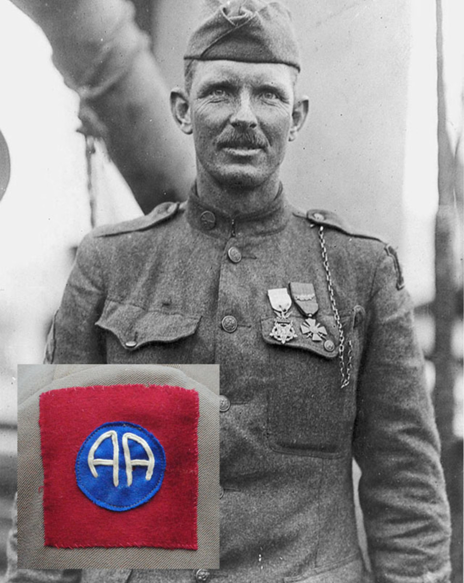 Perhaps the division's most famous soldier, Sgt. Alvin York of Company G, 328th Infantry earned the Medal of Honor for his actions on 8 October 1918. One of many variations of the World War I patch that was authorized by the American Expeditionary Forces on 21 October 1918 less than a month before the end of the war.