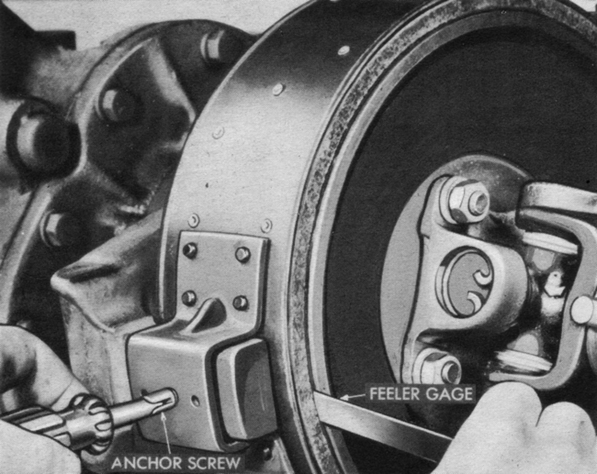 """The first step in adjusting an external contracting band brake is to set the band-to-drum clearance at the anchor point. While the illustrations in this article are of a CCKW, the procedure is generally the same for all such type brakes, and the clearance of .030"""" will usually work on most common HMVs, such as early WWII jeeps, Dodge WCs and M37s, M715s, etc. Many anchor bolts or screws are secured with lock wires, but don't replace the lock wire until all the adjustments have been made and you have road-tested the vehicle because you may have to make more adjustments."""
