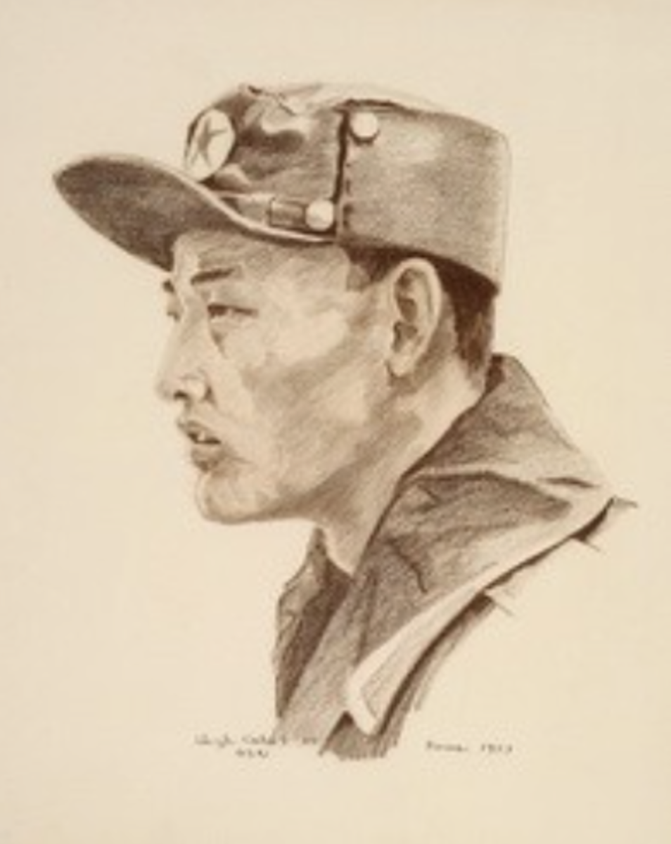 A North Korean Drawing, Pencil on Paper; by Hugh Cabot; 1953