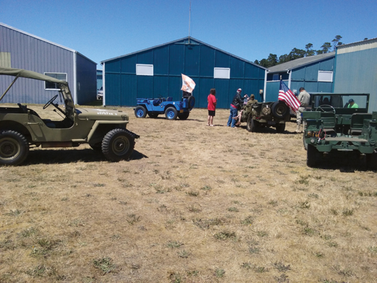 The Oregon Central Coast Military Vehicle Group giving convoy rides at the 2016 Wings & Wheels Fly-In and Car show in which the Museum also participates.