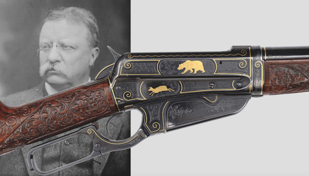 Rare Deluxe John Ulrich engraved Model 1895 Winchester rifle presented by Theodore Roosevelt featuring gold inlay, in very fine condition.