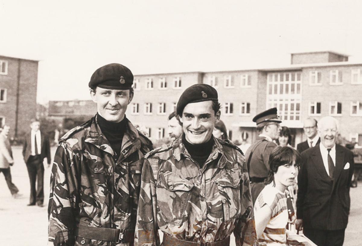 Safely returned from the Falklands: (Right) Lieutenant The Lord Robin Innes-Kerr and (left) Lieutenant Mark Coreth, both of the Blues and Royals Regiment of the Household Cavalry, who commanded the Scorpions and Scimitars during the Falklands War.