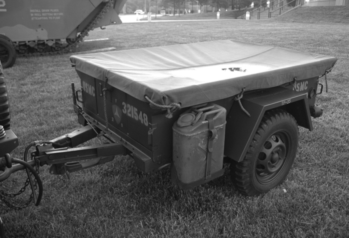 The first trailer issued for use with the Mite was designated the M416. It had a two-position socket for the lunette eye: One for the M151 and the other for the Mite. The M416B1 had brackets to hold water cans on each side of the trailer as seen on this example owned by Tom Price. John Adams-Graf photo