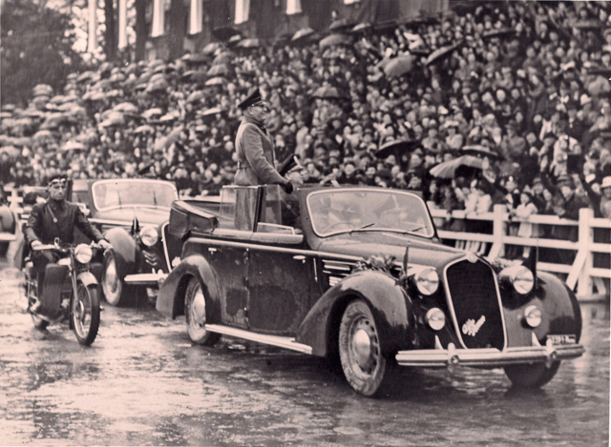 """Alfa Romeo delivered seven parade cars to the Italian government in 1937. Only one, seen here, was used as Mussolini's """"official car."""" The car survived the war, hidden away until just recently. The unrestored """"Mussolini Alfa Romeo"""" will be auctioned in Caen, France, on June 15, 2014."""